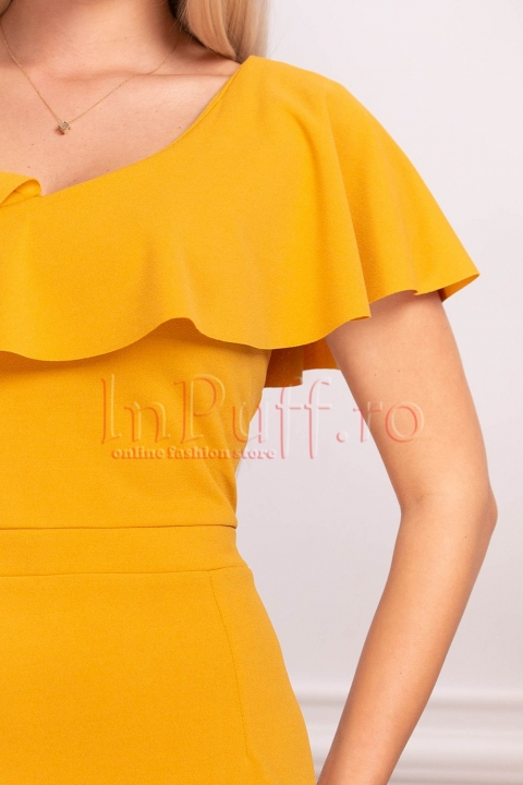 Rochie de zi mustar cu volane pe umeri