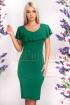 Rochie de zi verde cu volane pe umeri