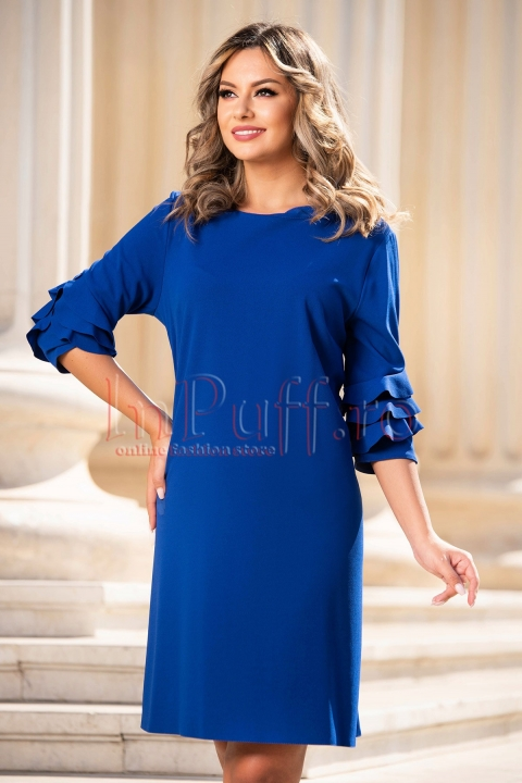 Rochie de zi albastra cu volane pe maneca