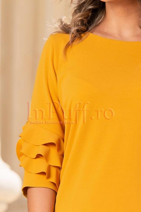 Rochie de zi mustar cu volane pe maneca