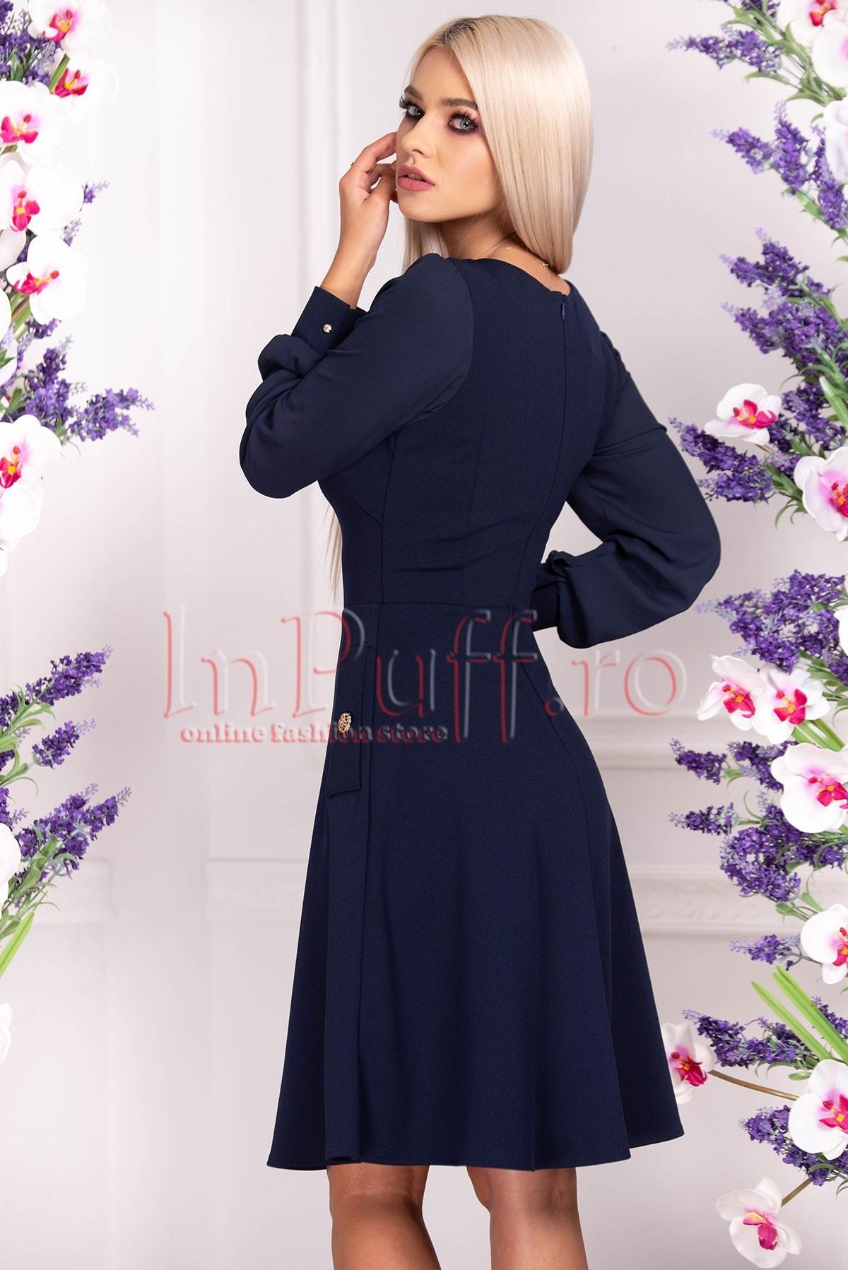 Rochie de zi bleumarin cu nasturi aurii