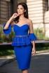 Rochie albastra de ocazie cu strasuri si peplum in talie