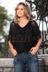 Bluza neagra eleganta din tul cu franjuri