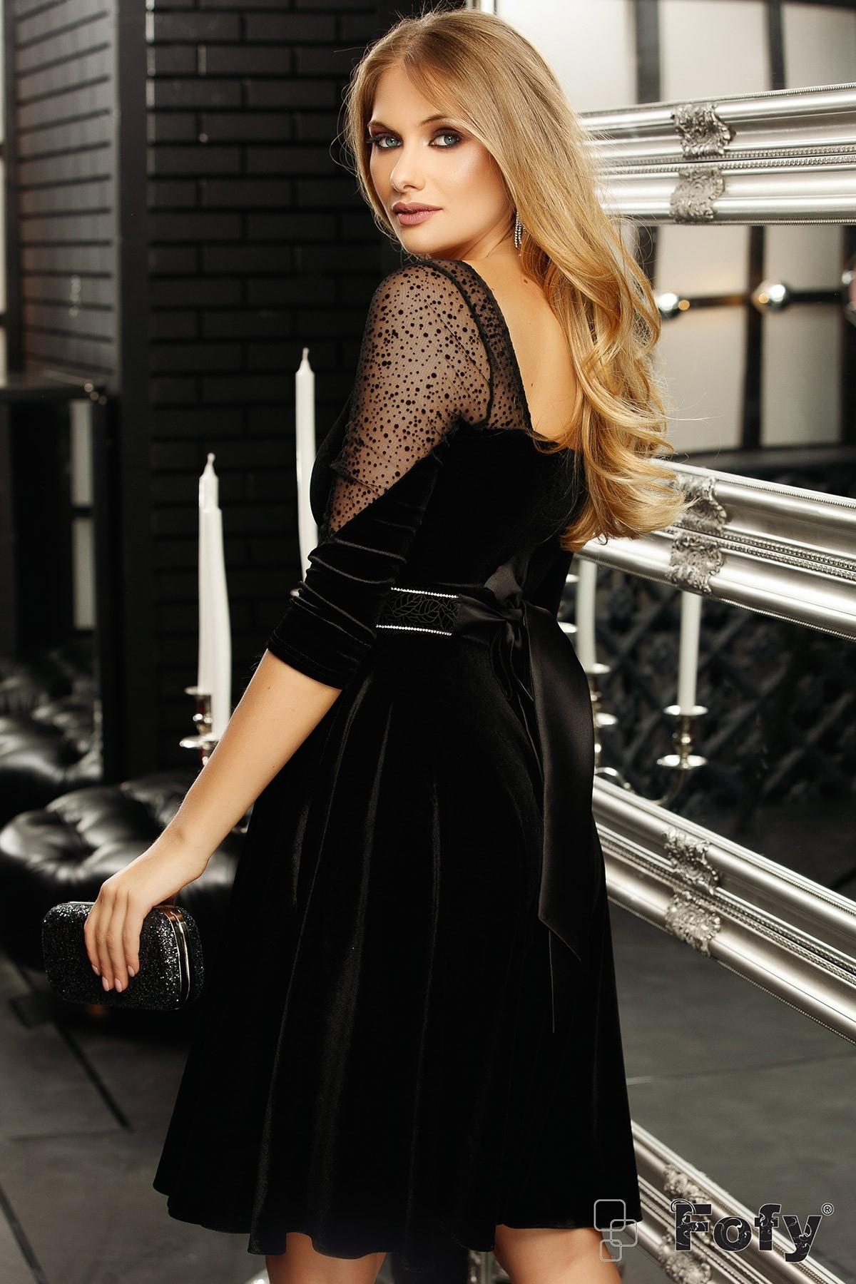 Rochie eleganta Fofy din catifea neagra