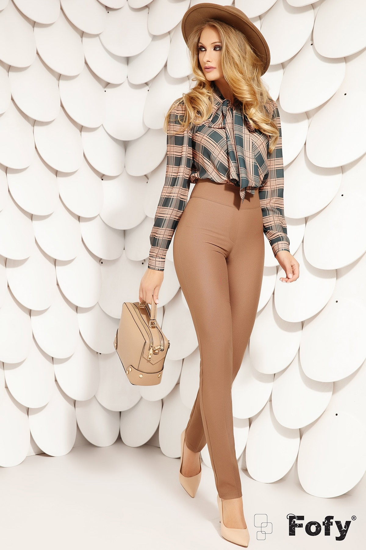 Pantaloni dama Fofy cu talie inalta
