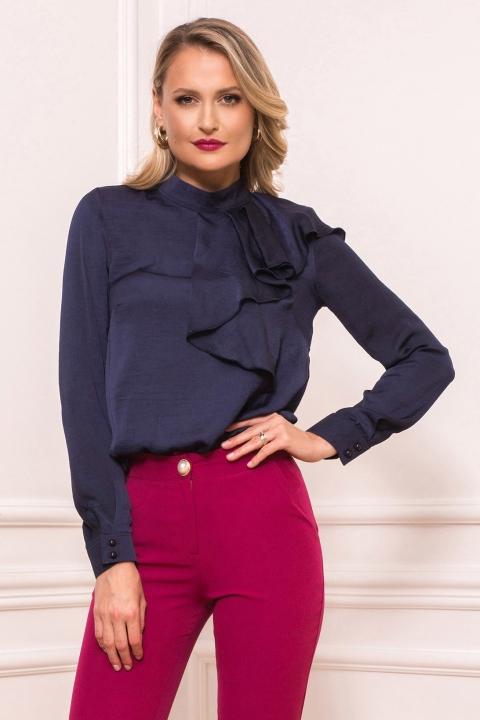 Bluza eleganta bleumarin cu volan pe umar