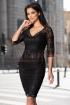 Rochie de ocazie neagra din dantela cu paiete