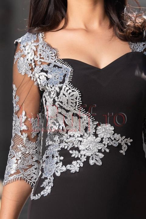 Rochie de ocazie cu broderie argintie