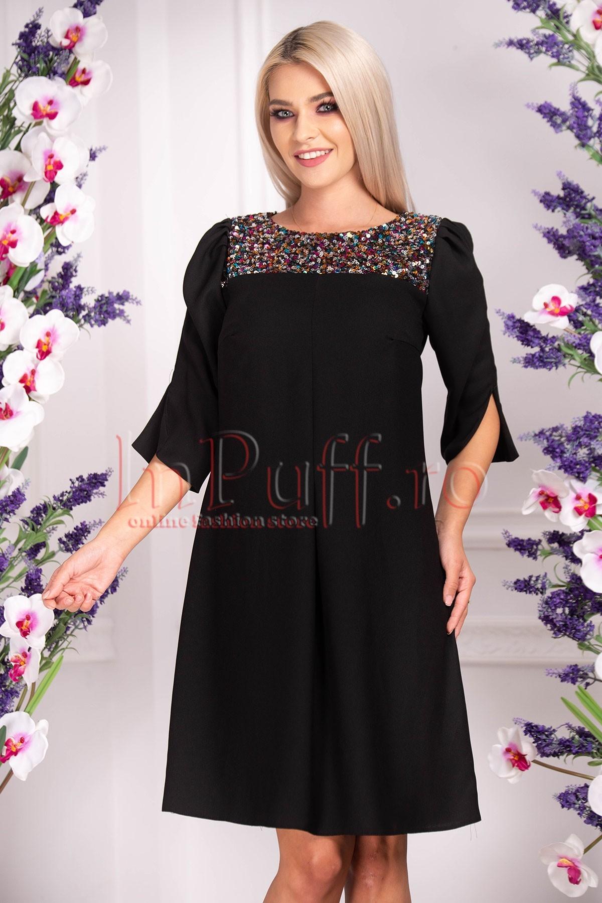 Rochie de ocazie neagra cu paiete multicolore Moze