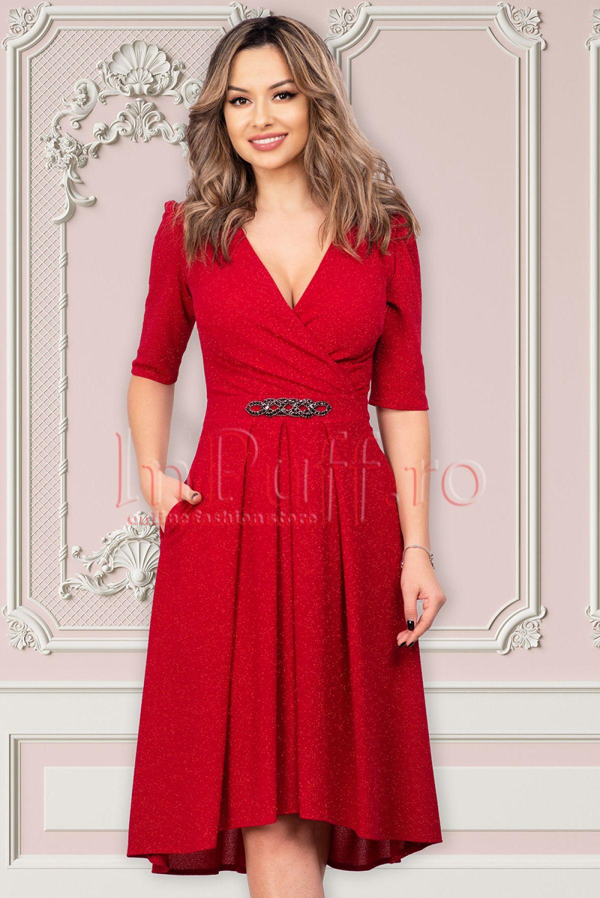 Rochie de seara rosie cu sclipici Moze Moze