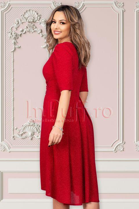 Rochie de seara rosie cu sclipici Moze