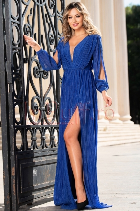 Rochie de seara lunga albastra plisata Moze