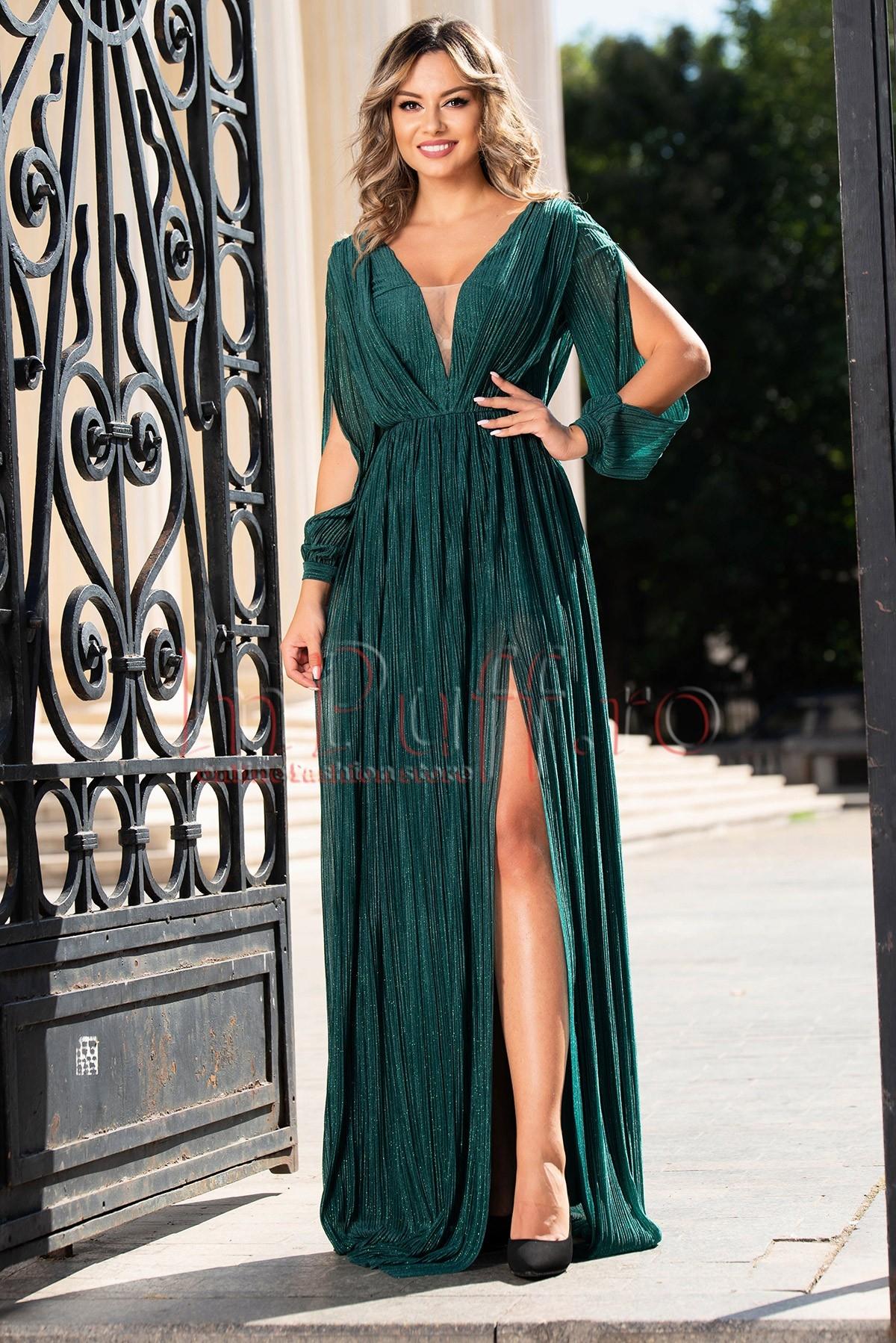 Rochie de seara lunga verde plisata Moze