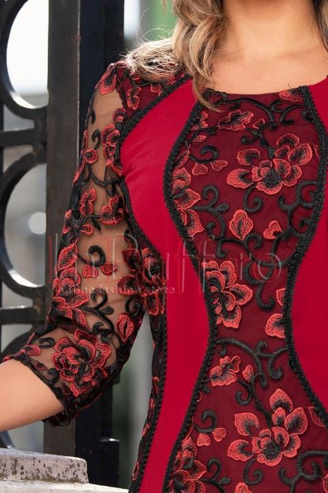 Rochie de seara cu broderie florala si insertii