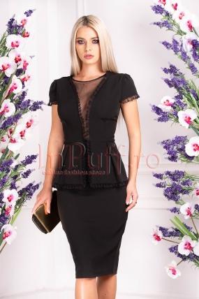 Rochie de ocazie neagra cu peplum in talie