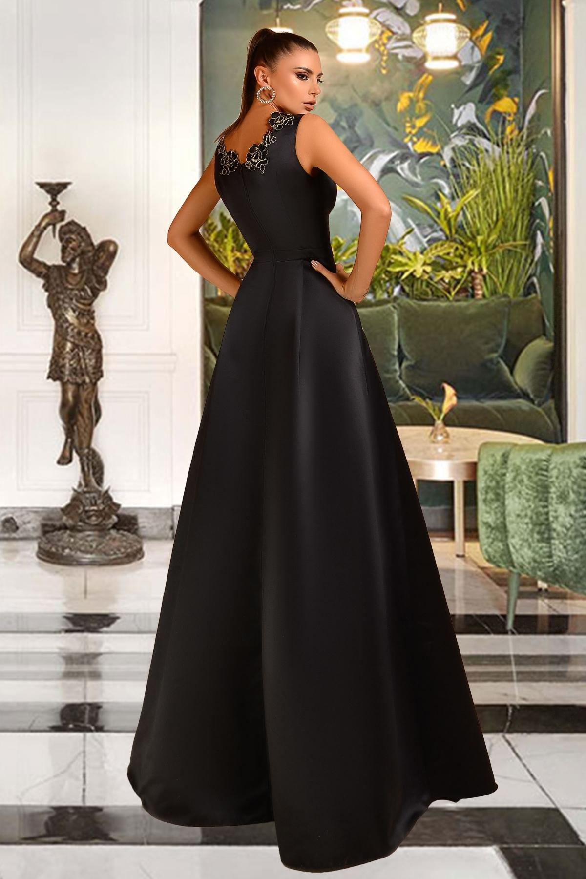 Rochie de seara lunga neagra cu broderie Atmosphere