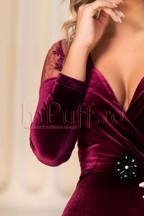 Rochie de seara din catifea grena