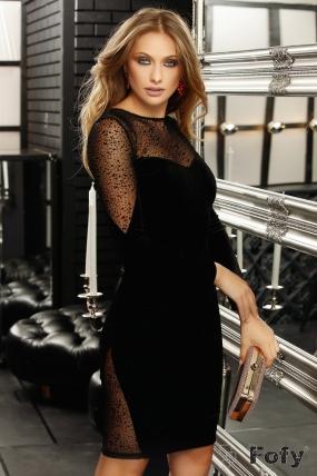 Rochie de seara din catifea neagra Fofy