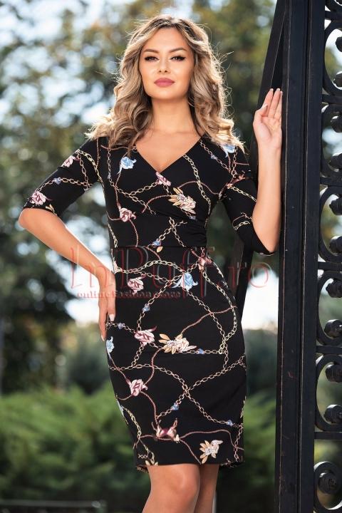 Rochie cu imprimeu chain si flori