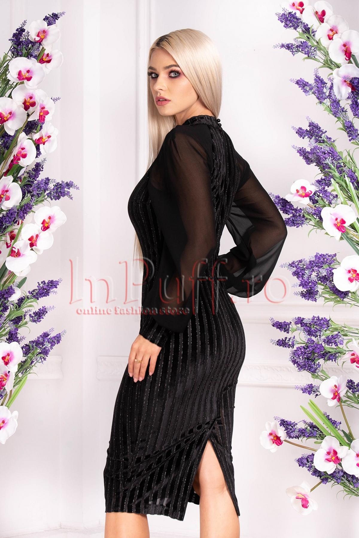 Rochie de seara din catifea neagra