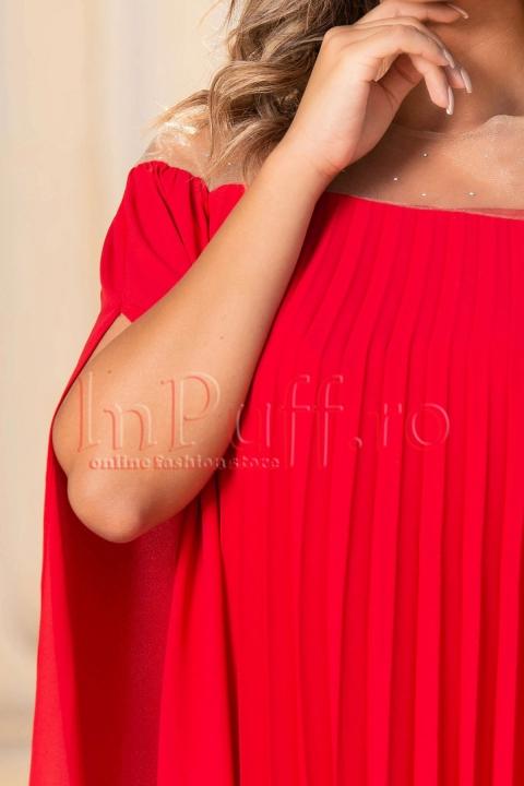 Rochie de seara rosie din voal plisat