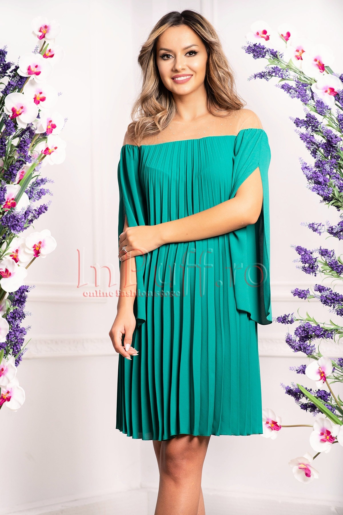 Rochie de seara verde din voal plisat