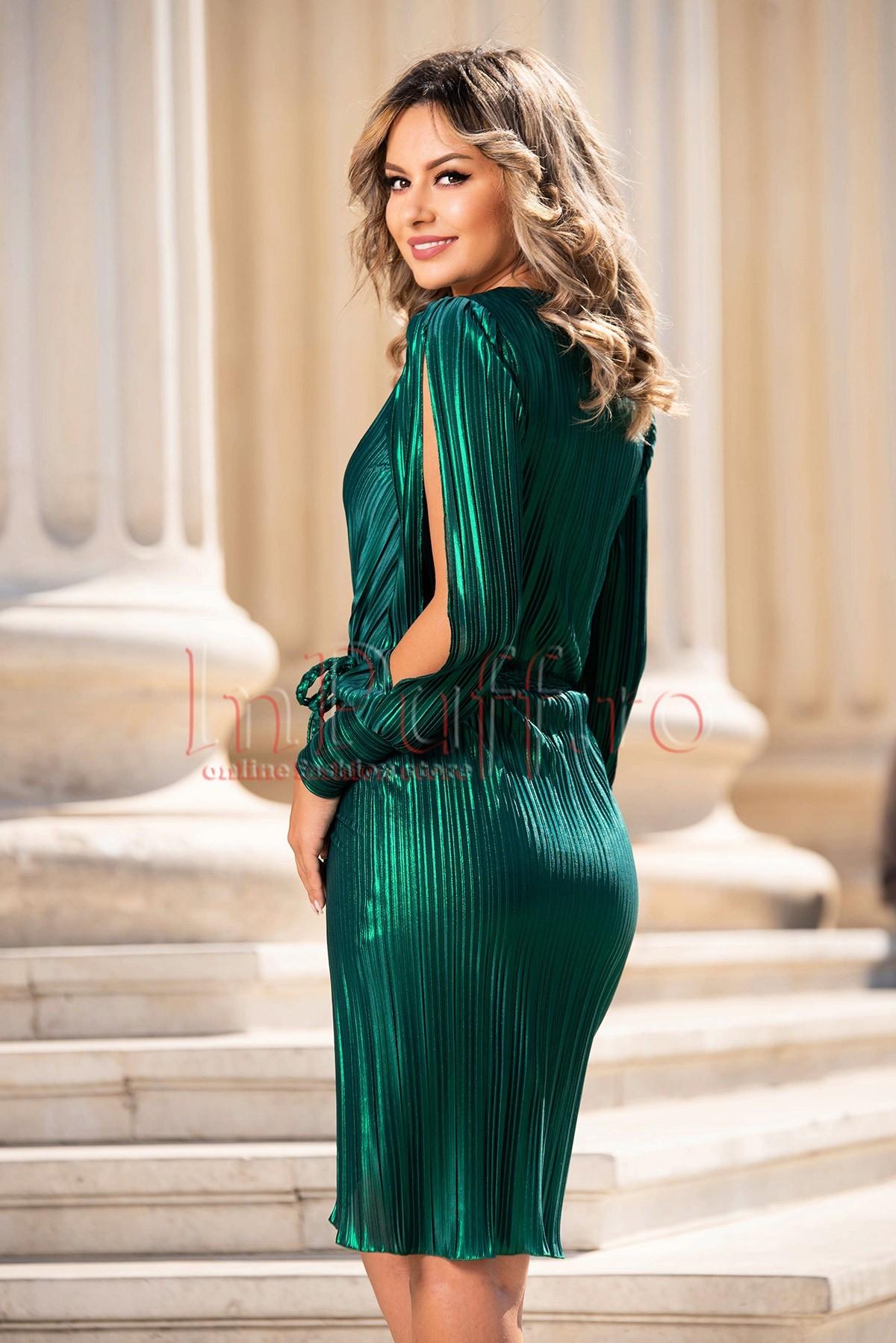 Rochie de seara plisata verde