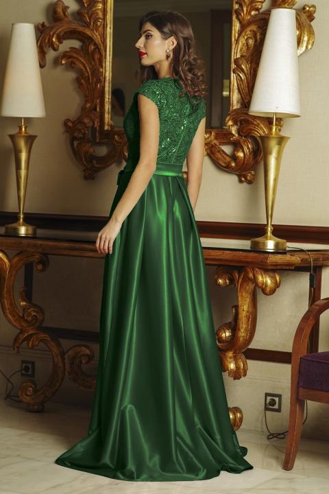 Rochie lunga de seara din satin verde cu broderie