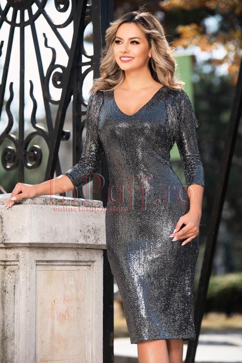 Rochie de seara din paiete argintii Moze