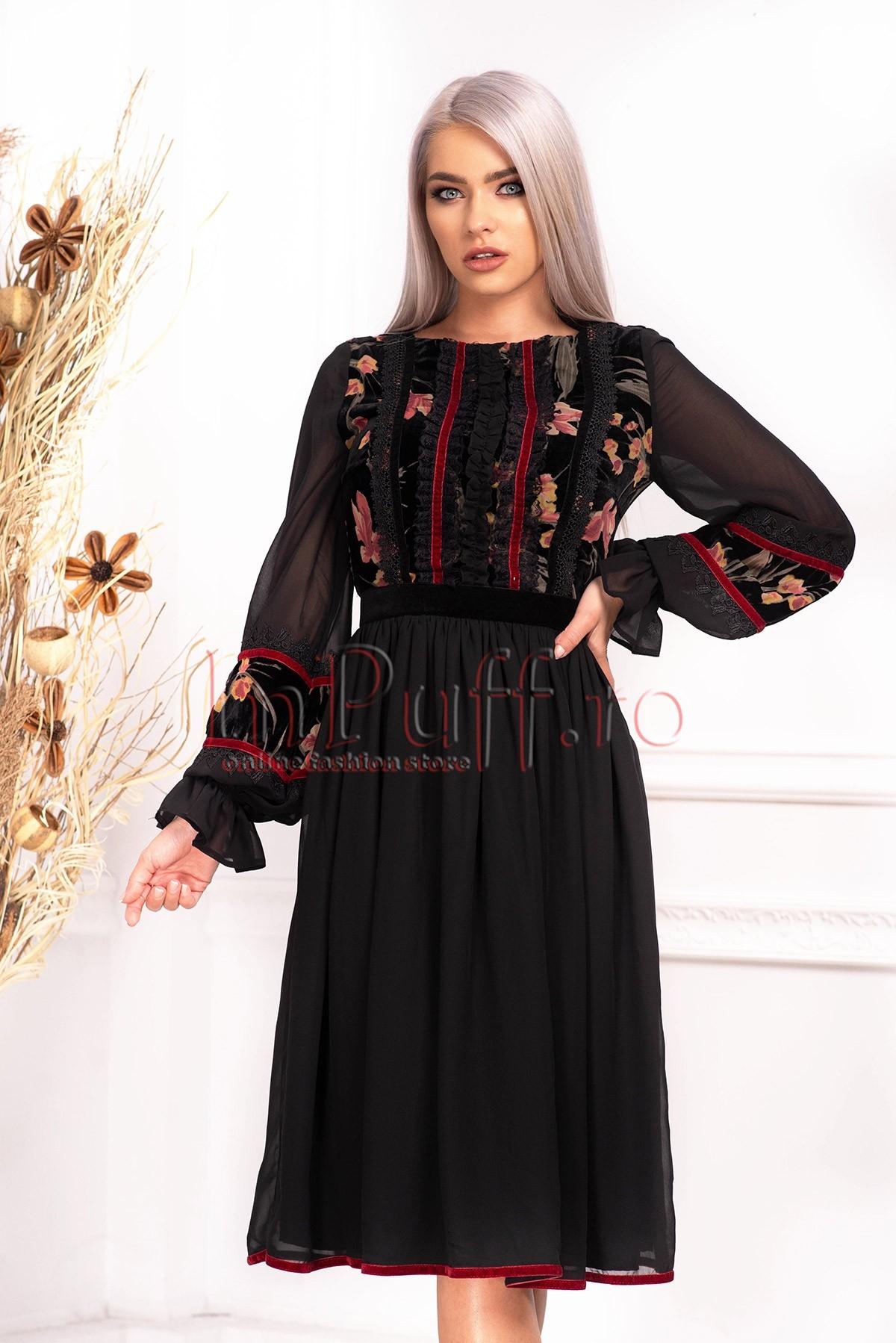 Rochie de ocazie cu aplicatii de catifea
