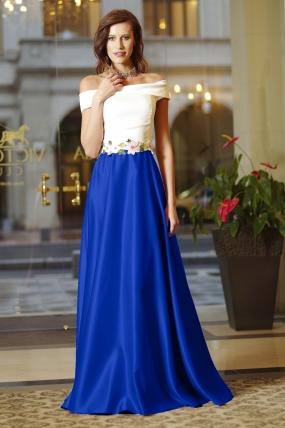 Rochie de ocazie bicolora lunga in clos din tafta cu insertii brodate