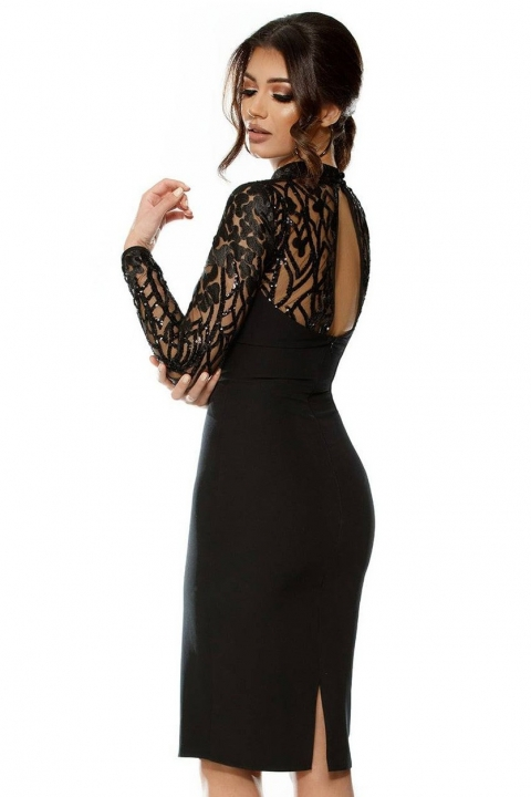 Rochie neagra de seara cu o maneca