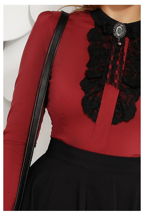 Bluza eleganta bordo cu dantela si brosa Fofy