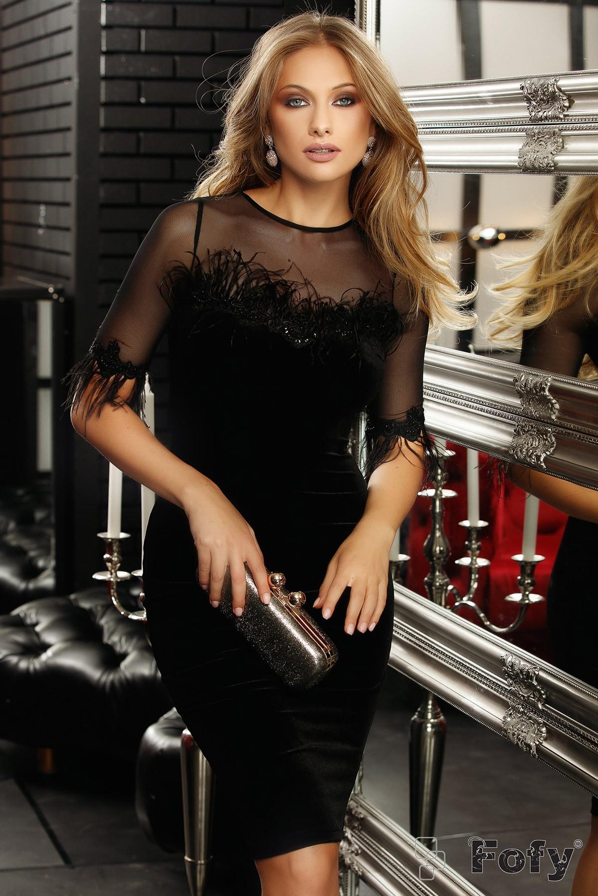 Rochie de seara neagra din catifea Fofy