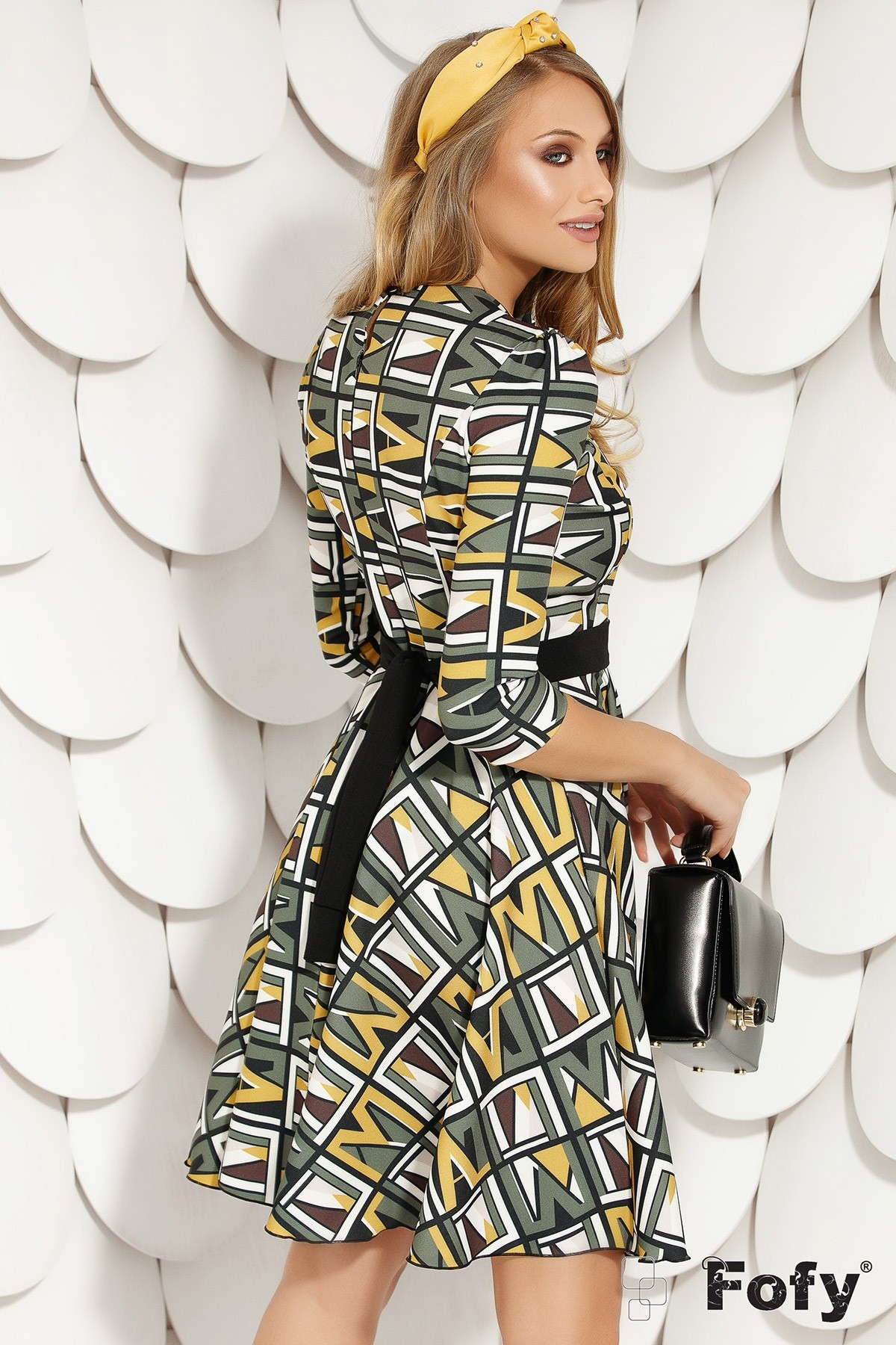 Rochie de zi Fofy cu imprimeu geometric