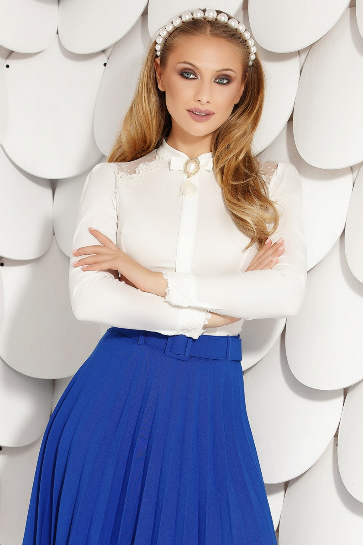 Bluza dama alba eleganta Fofy cu maneca lunga