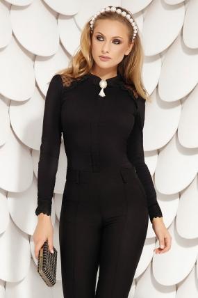 Bluza dama neagra eleganta Fofy cu maneca lunga