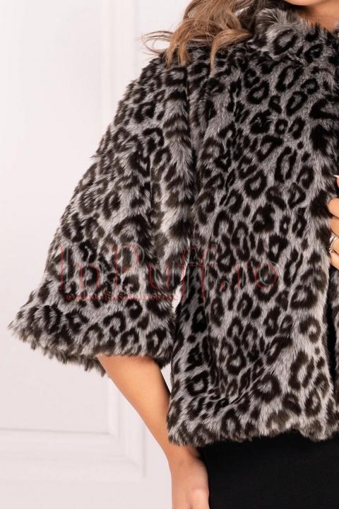 Jacheta din blana ecologica animal print