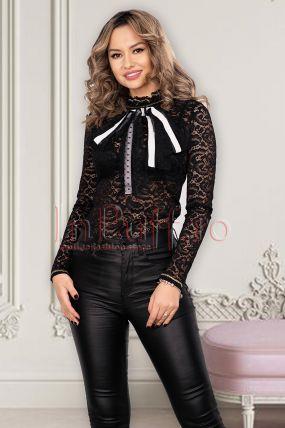 Bluza eleganta din dantela neagra cu model floral