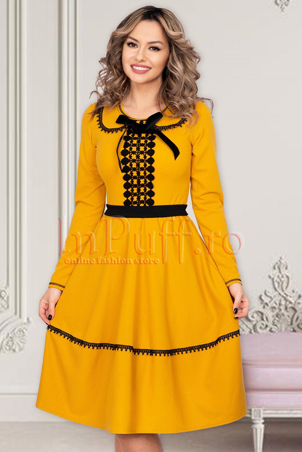 Rochie de zi galben - mustar cu insertii negre Venezia-Artigiano-Moda