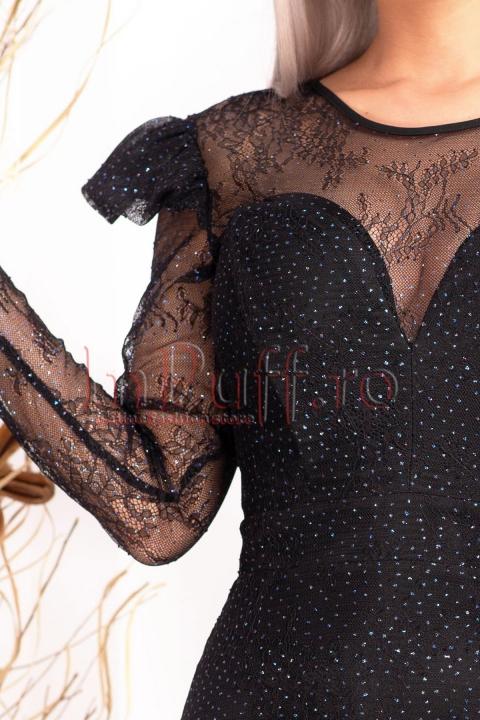 Rochie neagra de seara cu sclipici