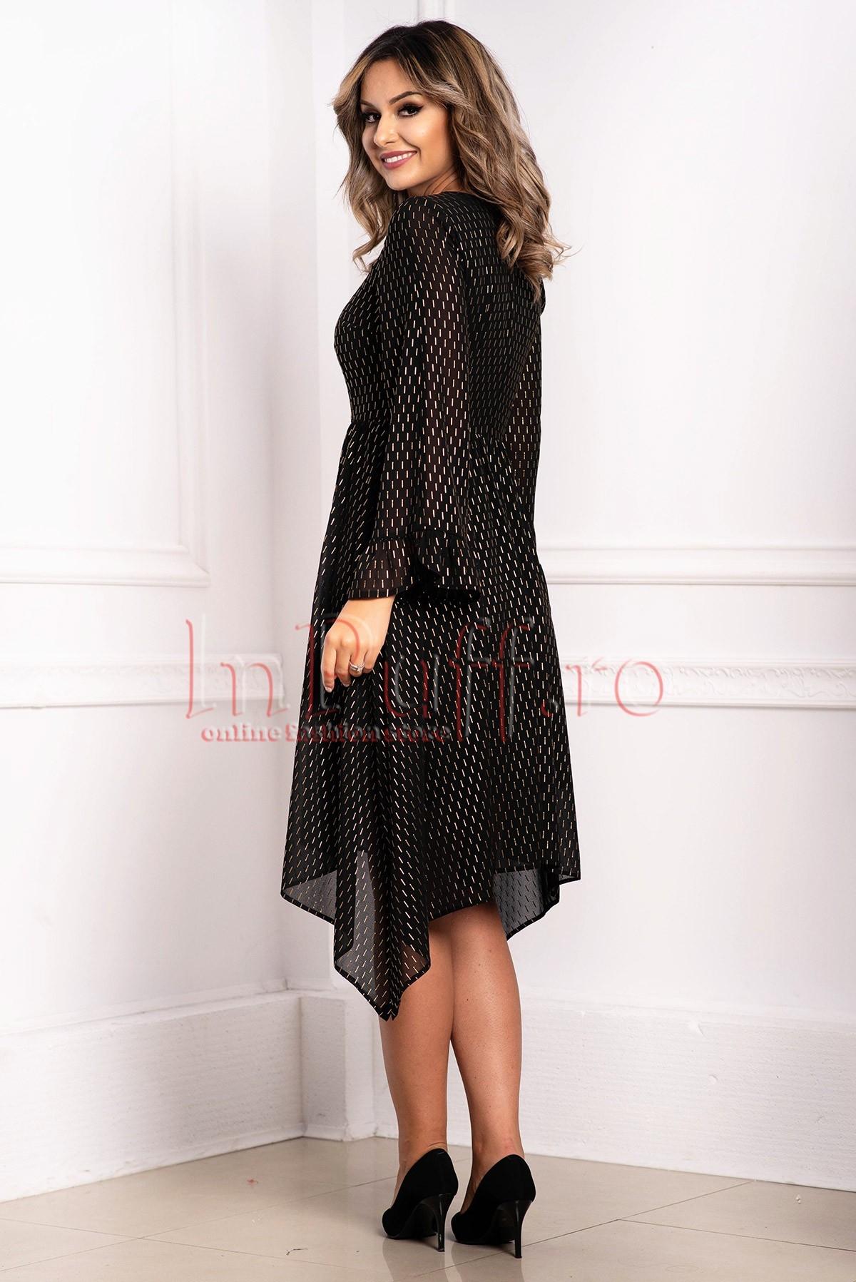 Rochie neagra de seara cu imprimeu auriu Moze
