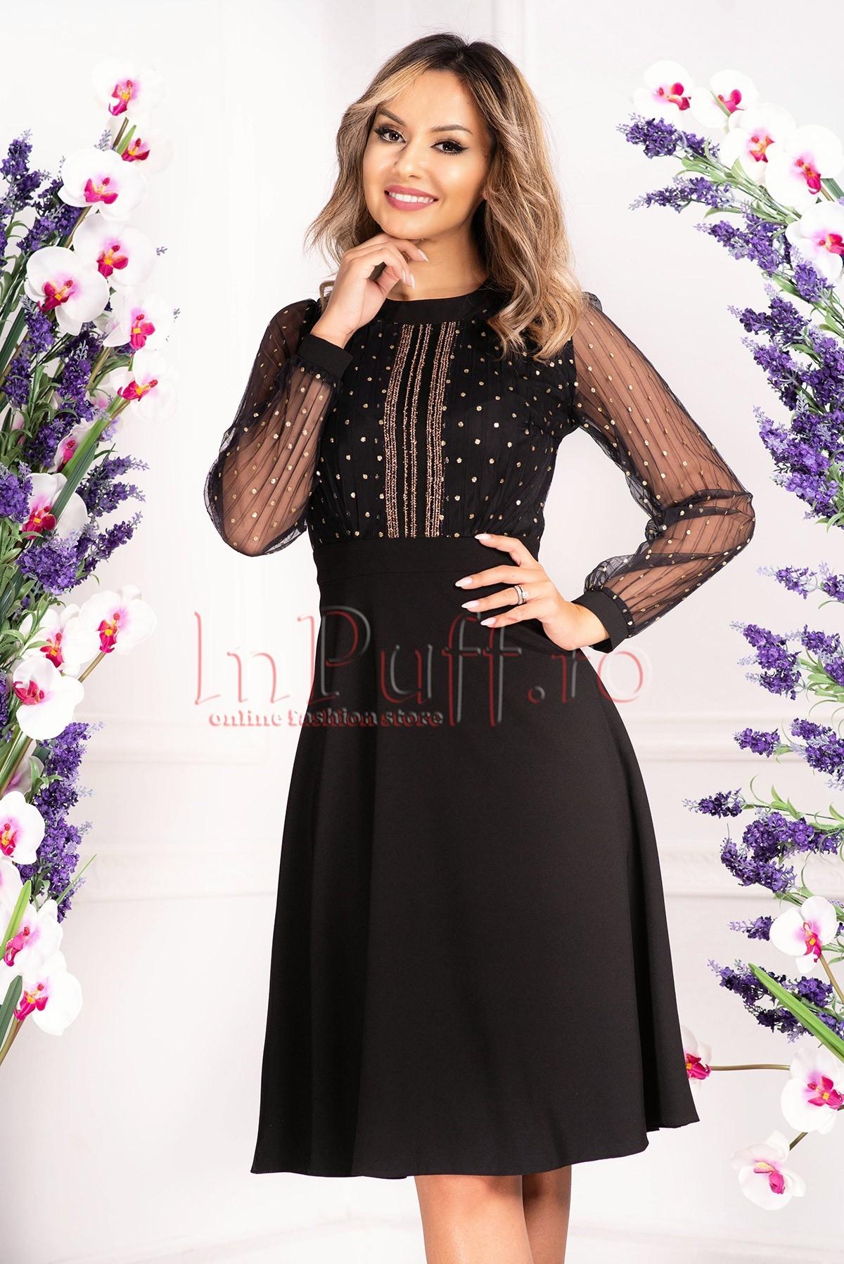 Rochie de ocazie neagra cu tul plisat Moze