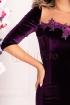 Rochie MBG mov de seara midi din catifea cu maneca trei sferturi