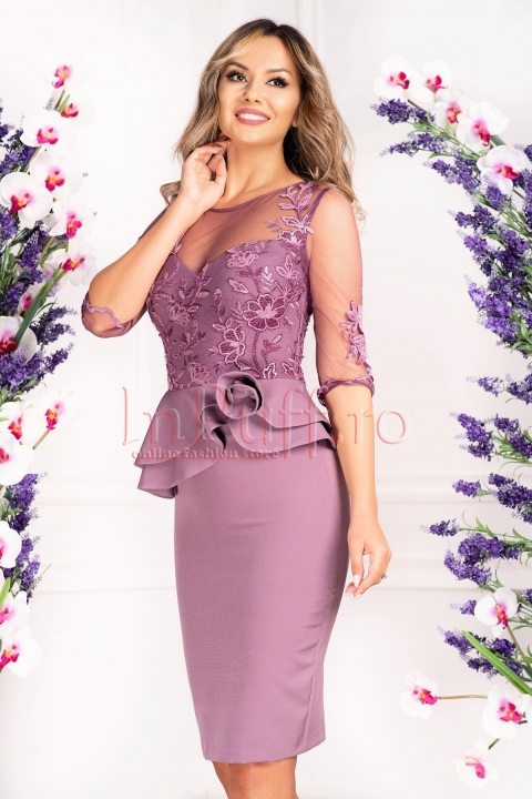 Rochie de ocazie lila cu tul brodat