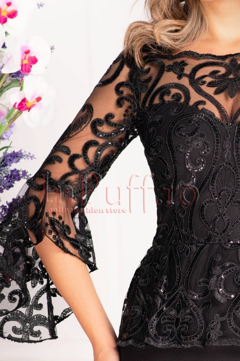 Rochie de ocazie neagra cu tul brodat