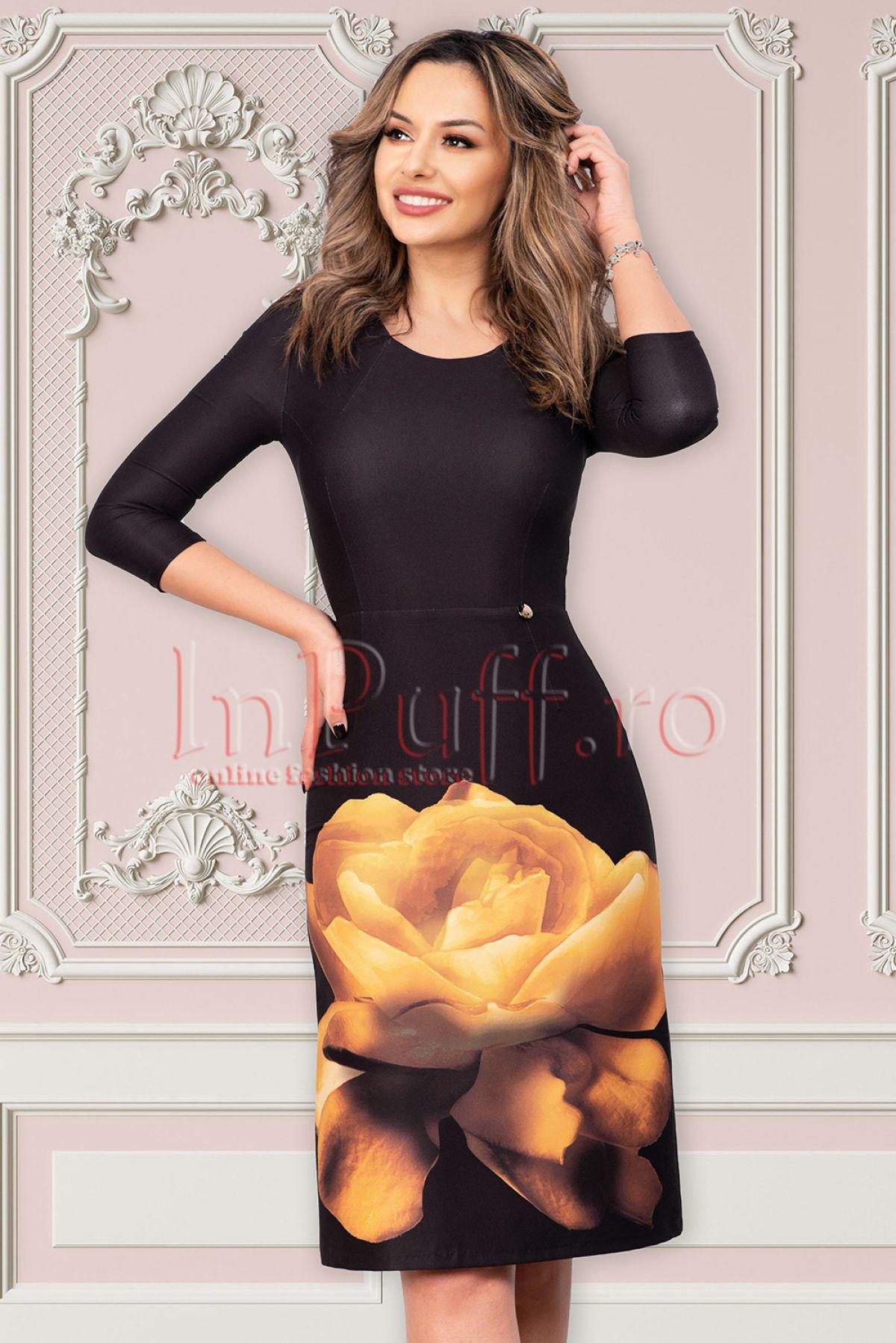 Rochie Pretty Girl neagra de ocazie midi cu imprimeu floral si maneca trei sferturi Pretty-Girl