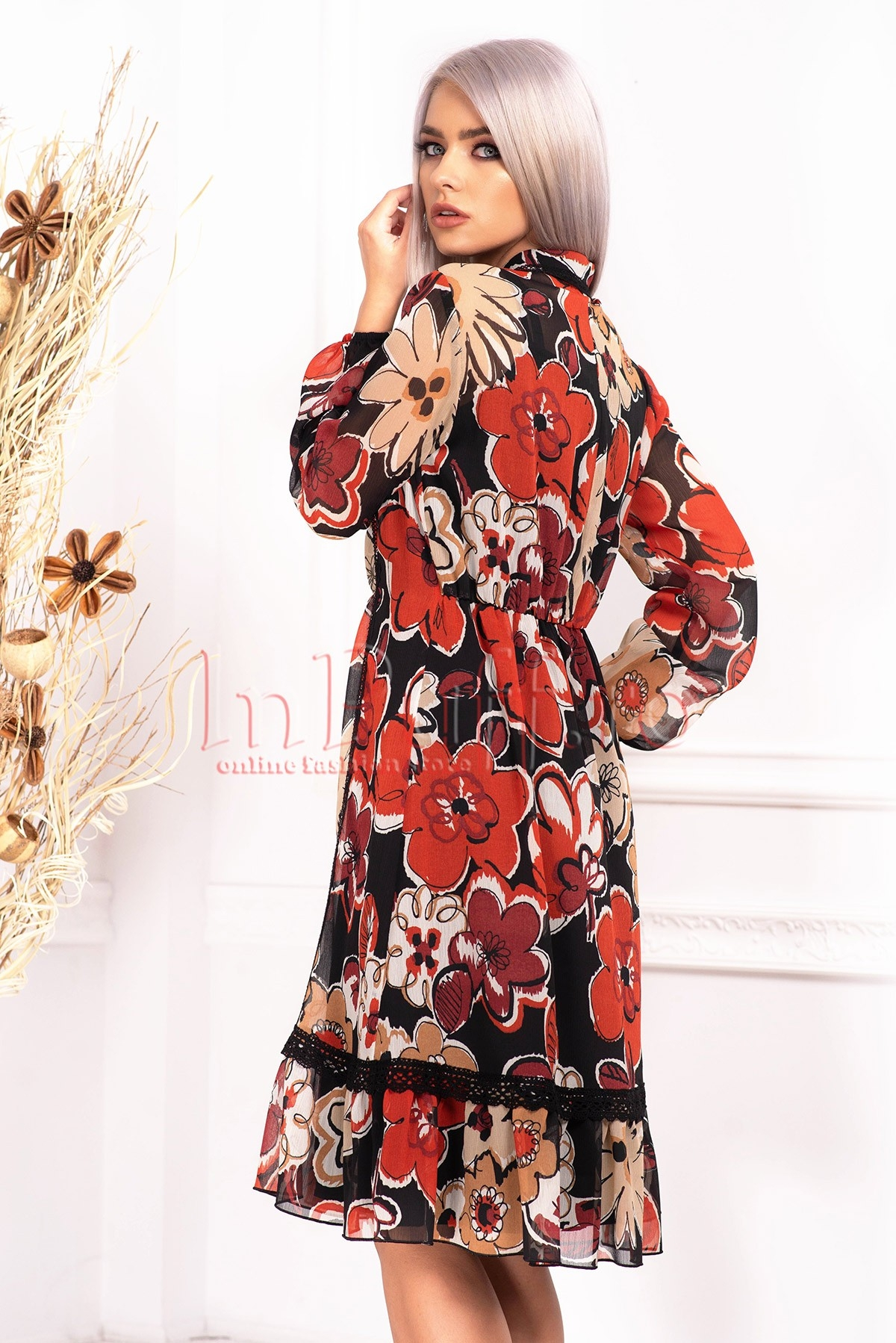 Rochie de zi Effect din voal cu imprimeu floral si maneca lunga