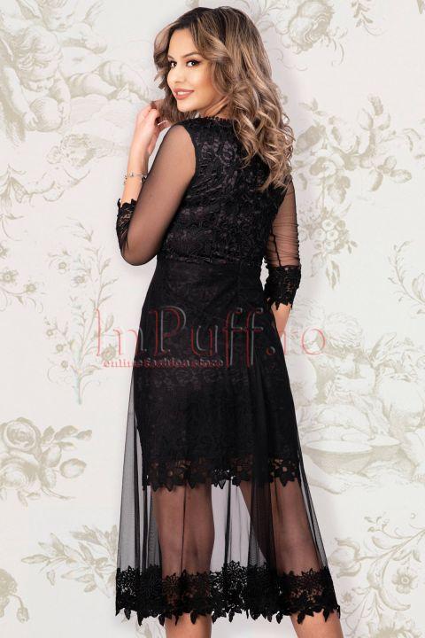 Rochie de seara Effect cu dantela neagra si tul pe deasupra