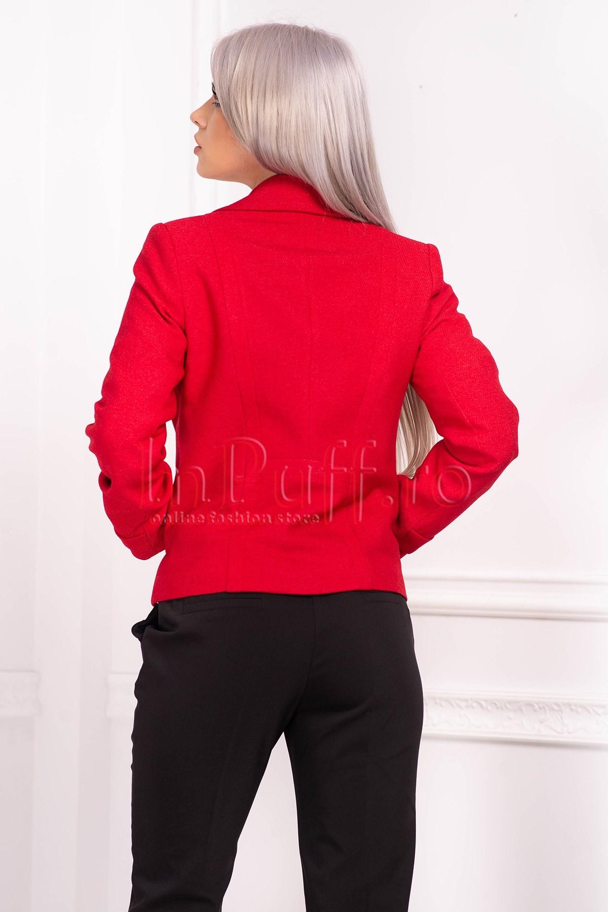 Jacheta rosie de dama din stofa diagonala cu revere